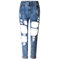 Women's Hole Ripped Jeans 90's Grunge Boyfriend Denim - Blue