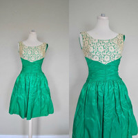 1950s Dress / Small Vintage Party Dress/ by WayfaringMagnolia