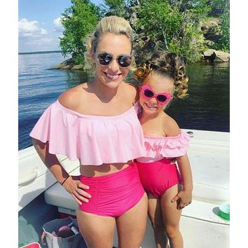 Family Match Swimsuit Mother Daughter Off Shoulder High Waist Bikini Set Swimwear