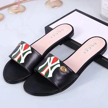 GUCCI & NY New Fashion High Quality Stripe Letter Print Leather Shoes Women Slippers Black