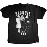 Blondie- Against The Wall on a black ringspun cotton shirt