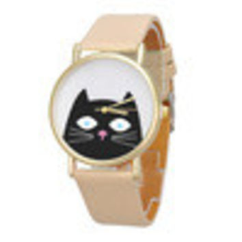 Women PU Leather Dress Watches Cute Cartoon Cat Band Analog Quartz Wrist Watch Clocks Hours INY66