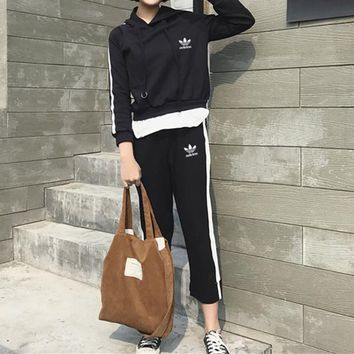 """Adidas"" Women Casual Stripe Hooded Sweater Long Sleeve Trousers Set Two-Piece Sportswear"
