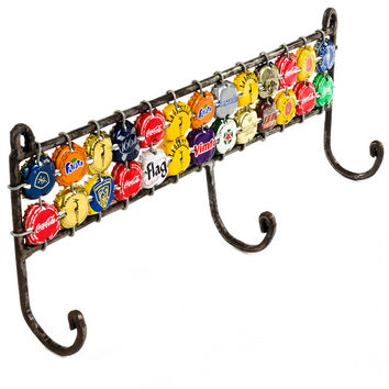 Colorful Recycled Bottle Cap Wall Hook