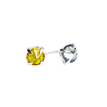 Sun Shower Studs, Alexandrite and Yellow Topaz Earrings, Mismatched Earrings, Gemstone Earrings