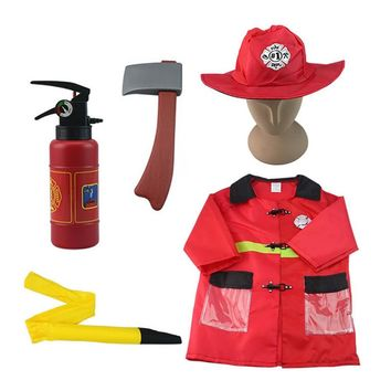 Kids Fire Chief Role Play Costume Set Fireman Firefighter Costume With Accessories Fancy Dress Party Costumes for Children