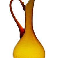 Amber Glass Water Jug, Vintage English 1930s
