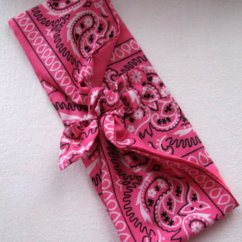 Boho Head Bandana, Pink Bandana Print, Wide Hair Band, Head Scarf, Hippie, Chic, Bohemian Bandana RockaBilly HairBand Teens Women