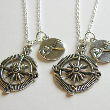 2 Pinky Promise Pinky Swear Compass Best Friends BFF Sisters Couples Necklaces