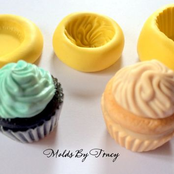 Three Part Kawaii Cupcake Silicone Mold,Flat Back, Jewelry Molds,Crafting Molds,Polymer Clay Molds, Resin Molds, Fondant Molds,Kawaii Mold
