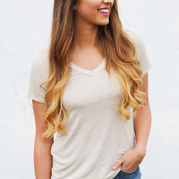 School Girl V-Neck Tee {Taupe}