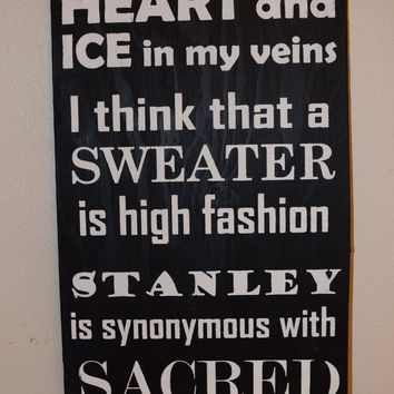 Hockey Sign, Lord Stanley's Cup, Sweater, Fire in my heart, ice in my veins, Sacred, Handmade, Handpainted, Sports Sign,