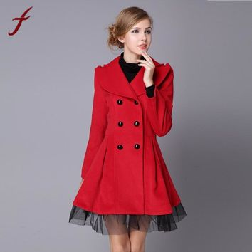Women Flare Double Breasted Trench Jacket Ladies Long Lapel Outwear Peacoat