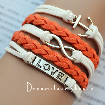 Christmas gift, Silvery alloy,Infinity Anchor LOVE Charm bracelet,White leather cords,Orange Braided leather,Charm Bracelet,best gift