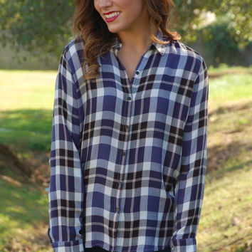 Classic Fall Plaid Top-Navy
