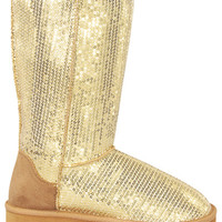 Gold Sequin Snow Boots from Rad and Lux