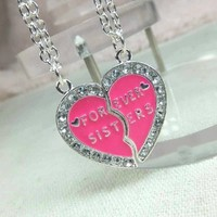 2 Piece Forever Sister Puzzle Set Necklace--NX33