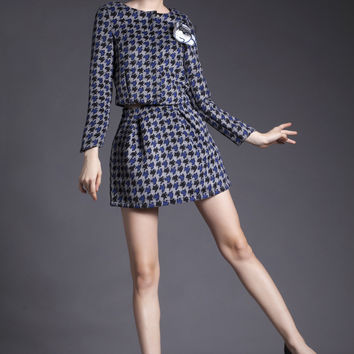 Printed Long Sleeve Top with A-Line Mini Skirt