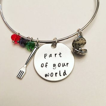 Part of Your World The Little Mermaid Ariel Disney Princess Inspired Stamped Adjustable Bangle Charm Bracelet