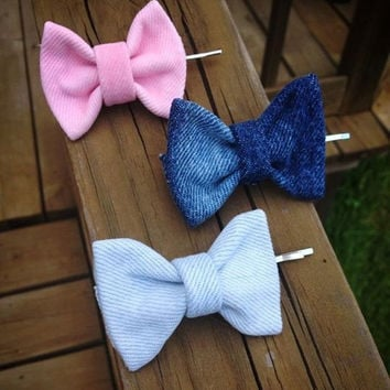 Mini Denim Hair Bows