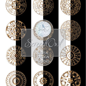 Gold Lace Mandalas, Craft Supplies, Bottle Cap, Collage Sheet, Resin Jewelry, Fridge Magnets, Printable Images, Instand Download