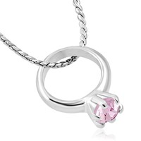 ON SALE - Tiny Pink CZ Birthstone Ring Charm Pendant Necklace