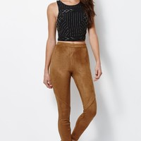 Kendall & Kylie Faux Suede Pants - Womens Pants - Brown