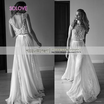 Elegant 2 Piece Lace Beach Wedding Dress 2016 two Piece Bridal Wedding Gown With Removable Jacket Vestidos de Casamento SL-W346