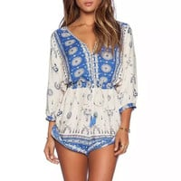 Printed V Neck Half Sleeve Rompers