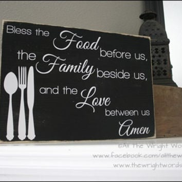 "16x12"" Bless The Food Before Us Wood Sign"
