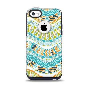 The Vector Teal & Green Snake Aztec Pattern Apple iPhone 5c Otterbox Commuter Case Skin Set