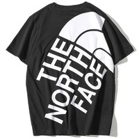 The North Face 2019 new couple models printed logo round neck half sleeve T-shirt Black