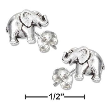 Sterling Silver Earrings:  Mini Elephant Earrings On Stainless Steel Posts And Nuts