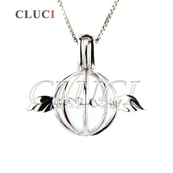 CLUCI silver snitch 925 sterling silver Angel Wing shaped ball Pendant Hollow Cage Locket 3pcs necklace