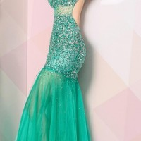 Sheer trumpet tulle long dresses by Scala