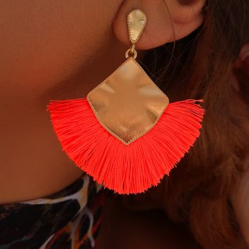 Take Me Away Earrings: Neon Orange/Gold