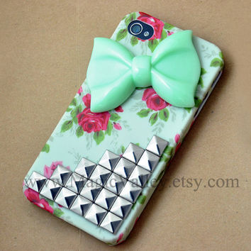 Light Green Bow Iphone 4s Case Iphone 4 case Flower by MagicValley