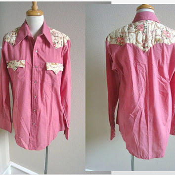 Vintage Pink Mens Western Shirt Quilted Yoke Pearl Snap 15 1/2