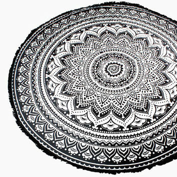 Black Ethnic Lotus Multi-way Round Beach Throw with Tassel Trim Beach blanket / Beach towel / Wrap / Rug