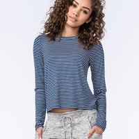 Full Tilt Stripe Womens Tee Slate  In Sizes