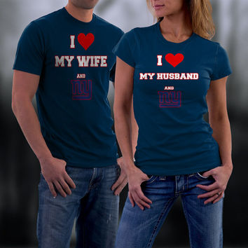 Giants,New York Giants Couples Shirt,  Giants Matching Couples tshirts,I love my Husband and the Giants Shirt,Wedding T Shirts