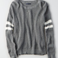 AEO Double-Striped Varsity Sweater, Heather Gray