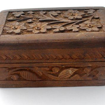 Small Hand Carved Wood Box Vintage