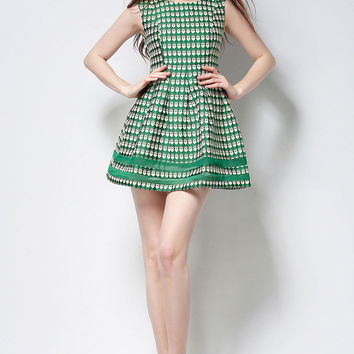 Green A-Line Vintage Graphic Print Skater Dress