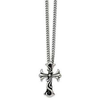 Antiqued Stainless Steel Medieval Cross Necklace - 22 Inch
