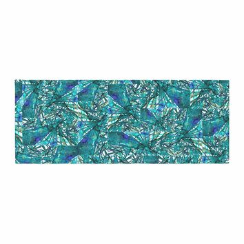 """Ebi Emporium """"New Directions, Peacock Cool"""" Teal Blue Pattern Geometric Mixed Media Painting Bed Runner"""