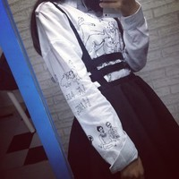 2018 Harajuku Darkness Gothic Punk Style Hollow Out Bandage Zipper Suspender Skirt Braces Pleated Strip Skirt