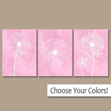 DANDELION NURSERY ART, Pink Nursery Wall Art, Watercolor Dandelions, Canvas or Prints, Girl Bedroom Pictures, Pink Bathroom Decor, Set of 3