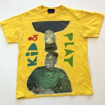 Mens Yellow Vintage Kid & Play T Shirt Size Medium Hip Hop Rap Televesion 90s TV Hollywood Graphic Tee