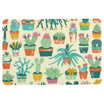 Colorful Cactus Flower Pattern Floor Mat